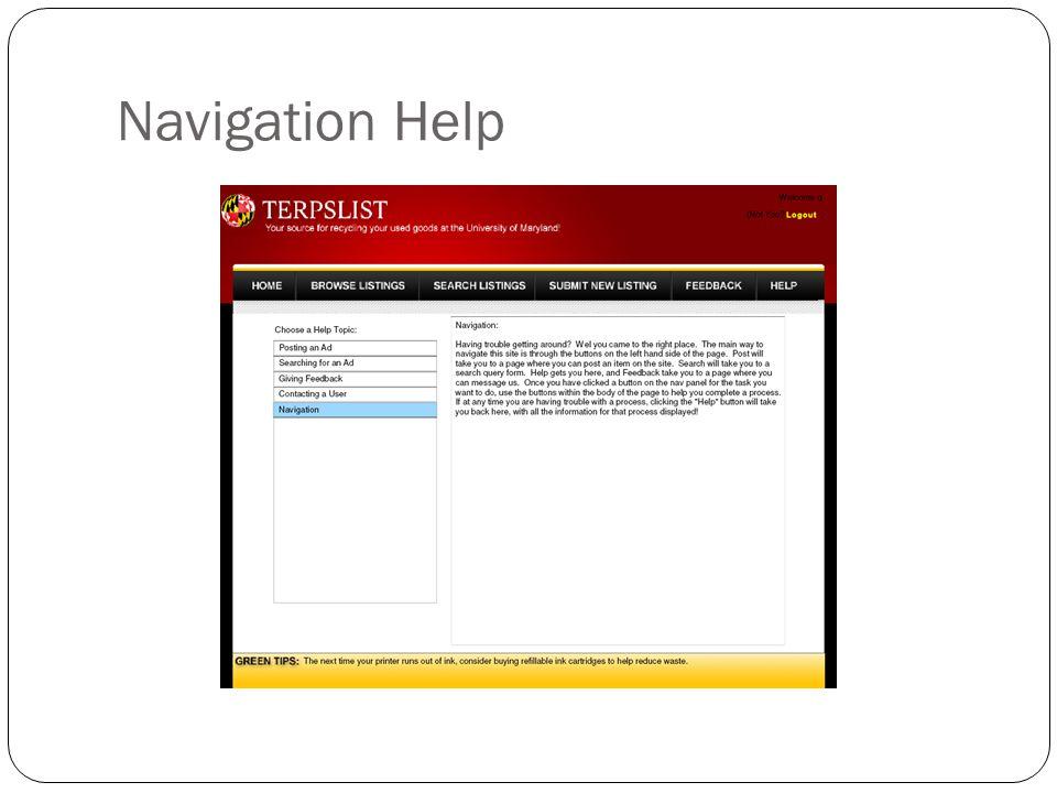 Navigation Help