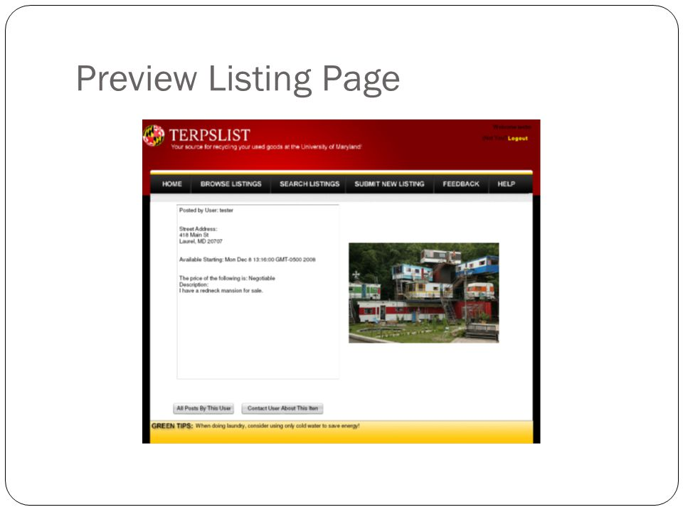 Preview Listing Page
