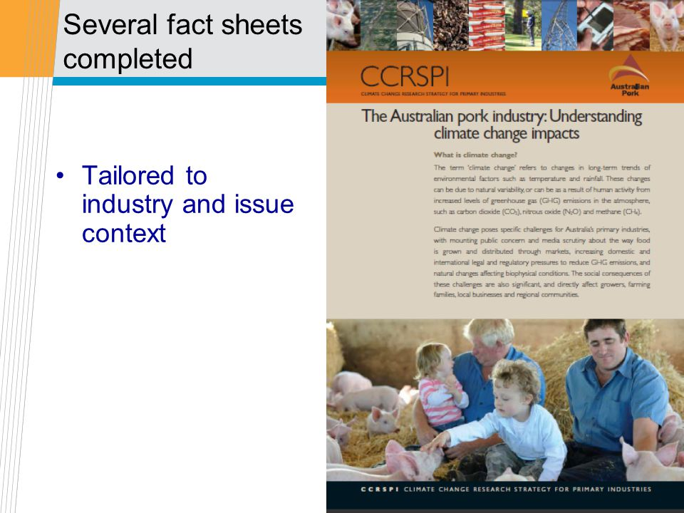 Several fact sheets completed Tailored to industry and issue context