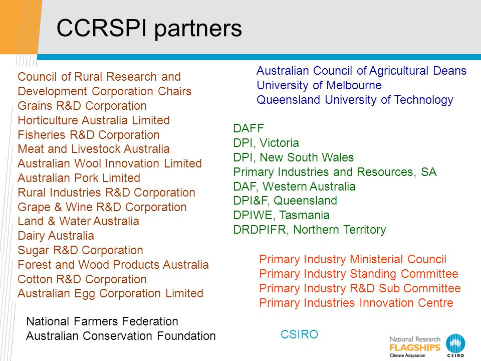 CCRSPI partners Primary Industry Ministerial Council Primary Industry Standing Committee Primary Industry R&D Sub Committee Primary Industries Innovation Centre Council of Rural Research and Development Corporation Chairs Grains R&D Corporation Horticulture Australia Limited Fisheries R&D Corporation Meat and Livestock Australia Australian Wool Innovation Limited Australian Pork Limited Rural Industries R&D Corporation Grape & Wine R&D Corporation Land & Water Australia Dairy Australia Sugar R&D Corporation Forest and Wood Products Australia Cotton R&D Corporation Australian Egg Corporation Limited Australian Council of Agricultural Deans University of Melbourne Queensland University of Technology DAFF DPI, Victoria DPI, New South Wales Primary Industries and Resources, SA DAF, Western Australia DPI&F, Queensland DPIWE, Tasmania DRDPIFR, Northern Territory National Farmers Federation Australian Conservation Foundation CSIRO