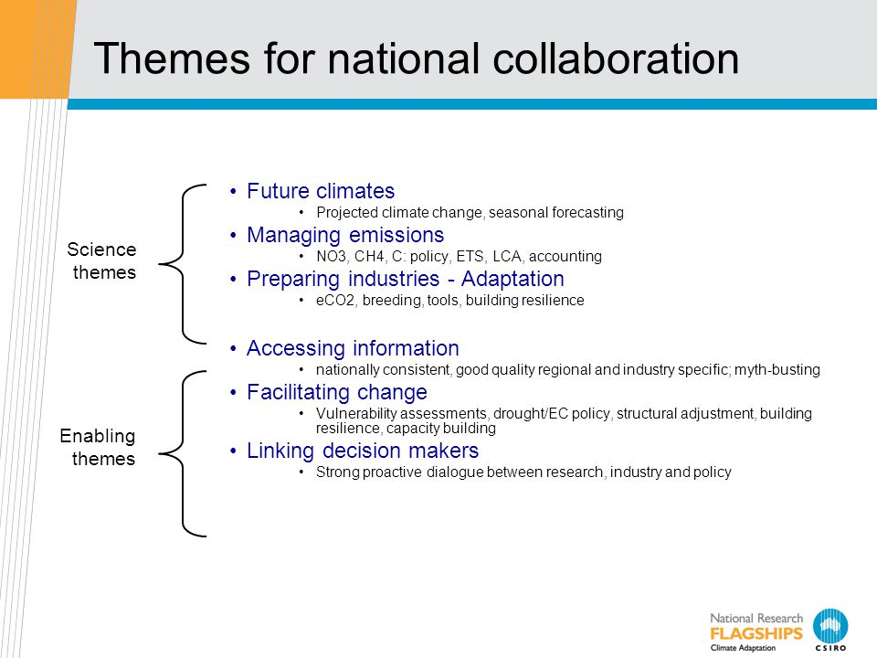 Themes for national collaboration Future climates Projected climate change, seasonal forecasting Managing emissions NO3, CH4, C: policy, ETS, LCA, accounting Preparing industries - Adaptation eCO2, breeding, tools, building resilience Accessing information nationally consistent, good quality regional and industry specific; myth-busting Facilitating change Vulnerability assessments, drought/EC policy, structural adjustment, building resilience, capacity building Linking decision makers Strong proactive dialogue between research, industry and policy Science themes Enabling themes