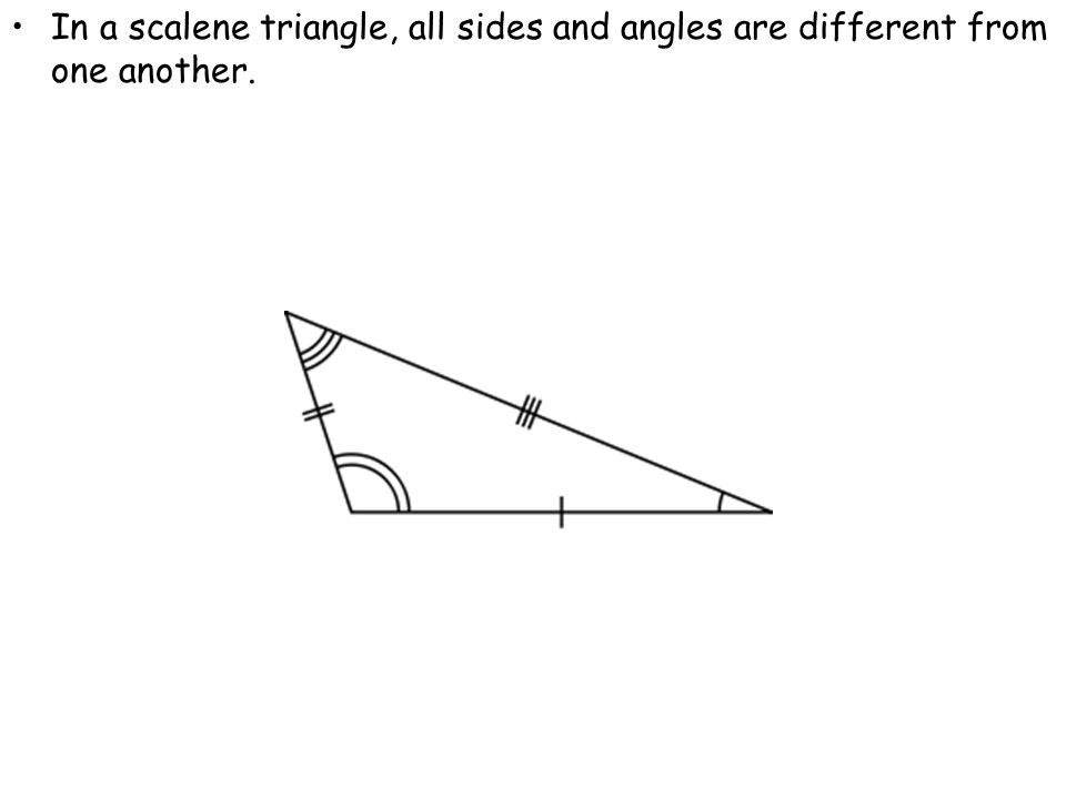 In a scalene triangle, all sides and angles are different from one another.