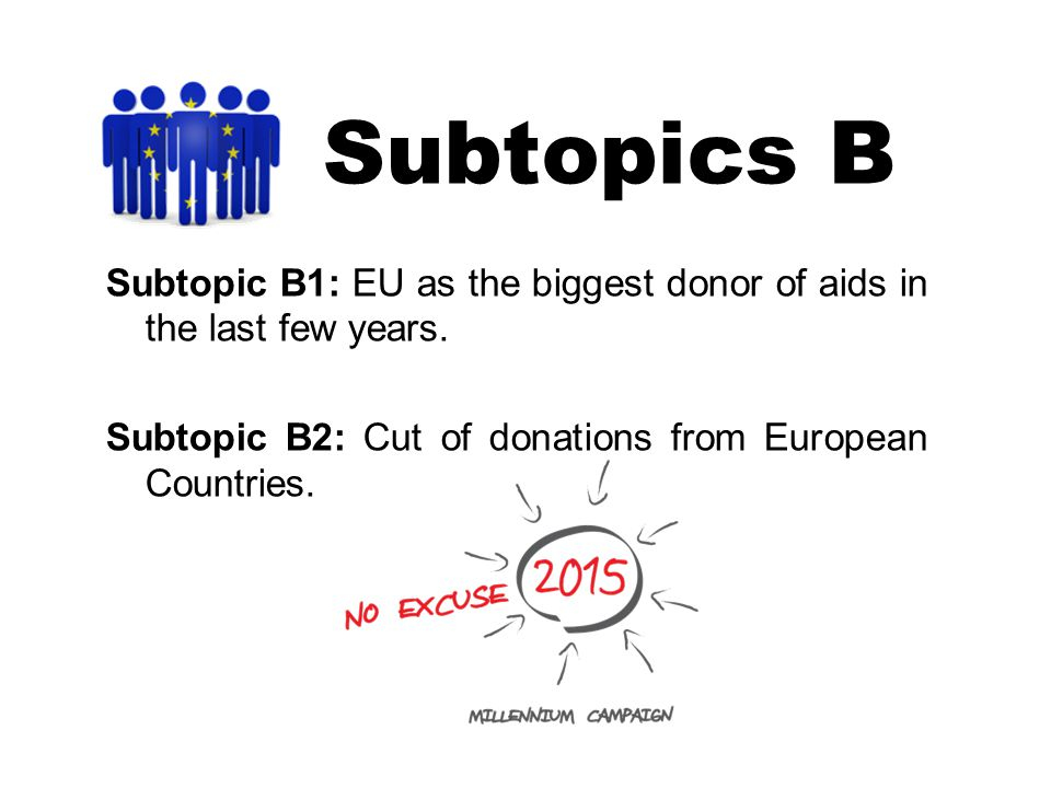Subtopics B Subtopic B1: EU as the biggest donor of aids in the last few years.