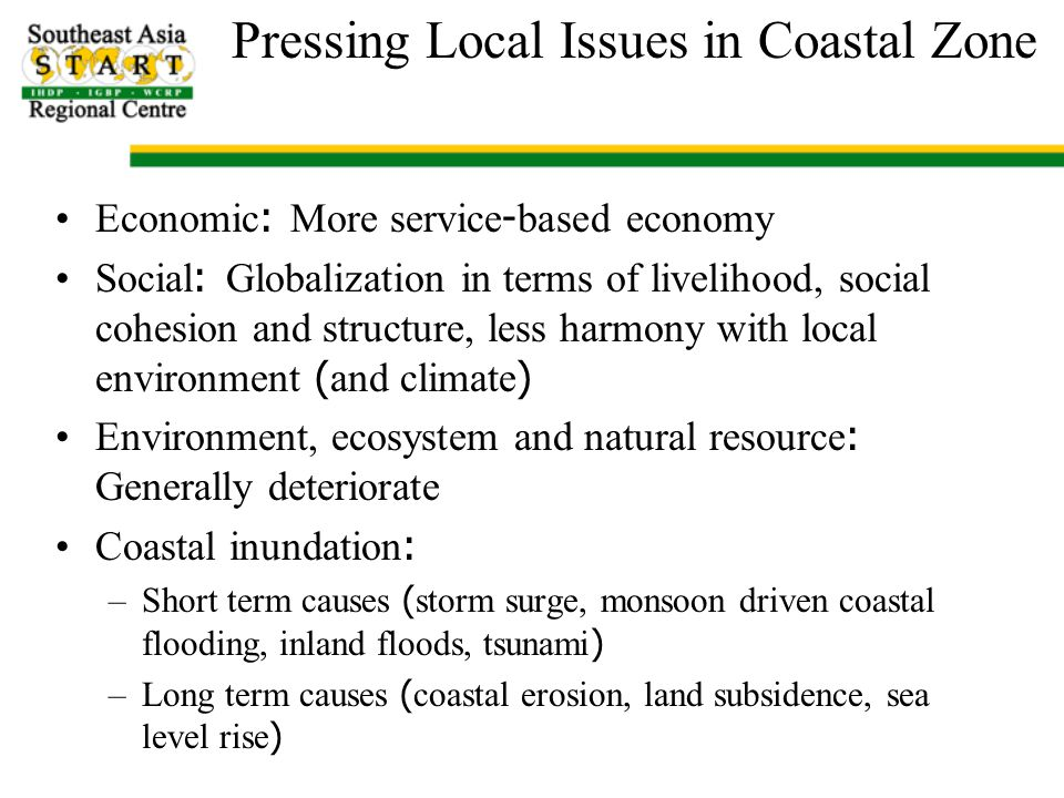 Regional/Catchment Scale Issues Monsoon and typhoon variability Geology and tectonic Mega project developments and urban centers draw in resources (including human) Land use and agriculture policies: Food and energy crops Climate and upstream hydrologic changes