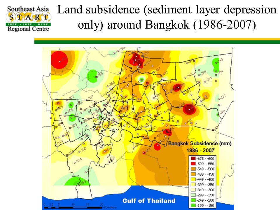 Land subsidence (sediment layer depression only) around Bangkok (1986-2007)