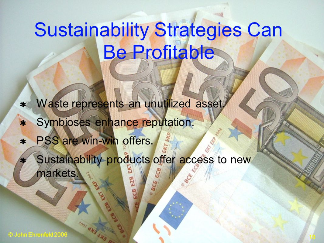 © John Ehrenfeld 2006 10 Sustainability Strategies Can Be Profitable Waste represents an unutilized asset.