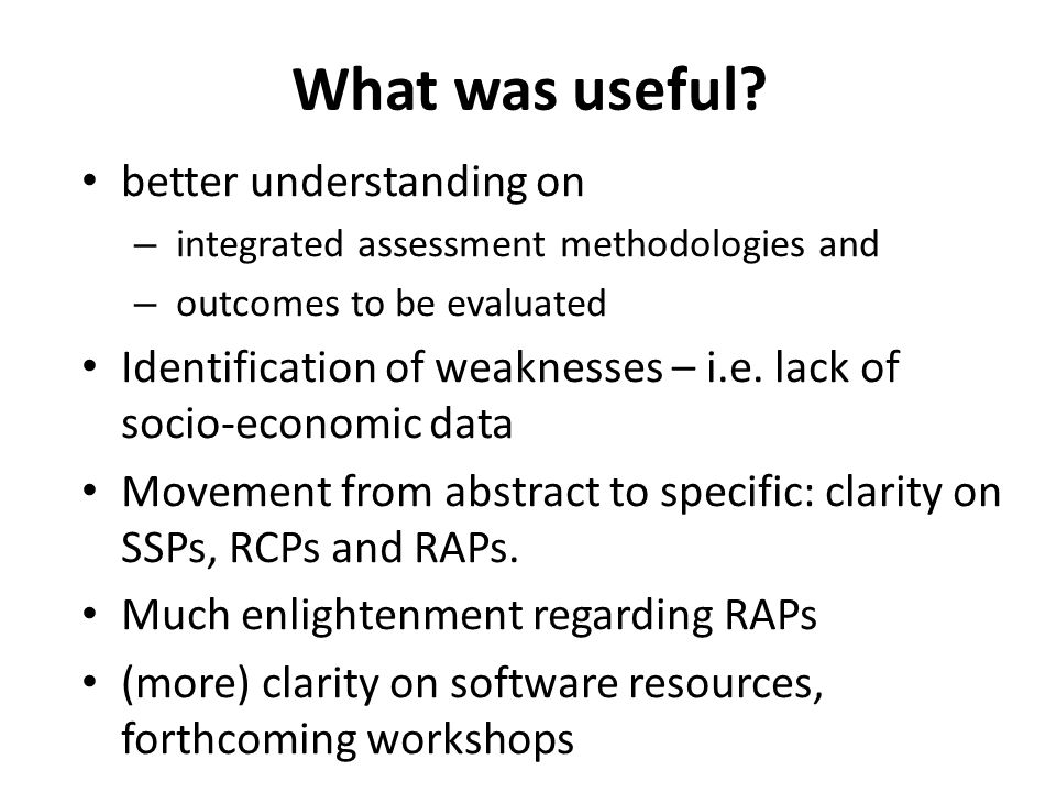 What was useful? better understanding on – integrated assessment methodologies and – outcomes to be evaluated Identification of weaknesses – i.e. lack