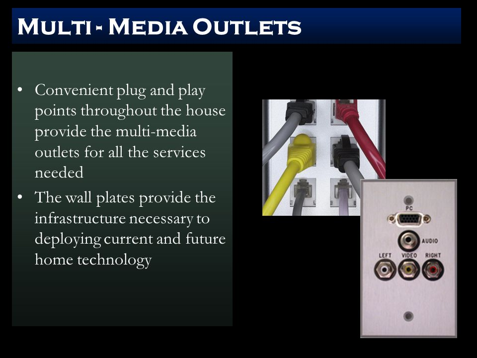 Multi - Media Outlets Convenient plug and play points throughout the house provide the multi-media outlets for all the services needed The wall plates