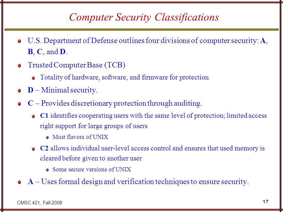 CMSC 421, Fall 2008 17 Computer Security Classifications U.S.