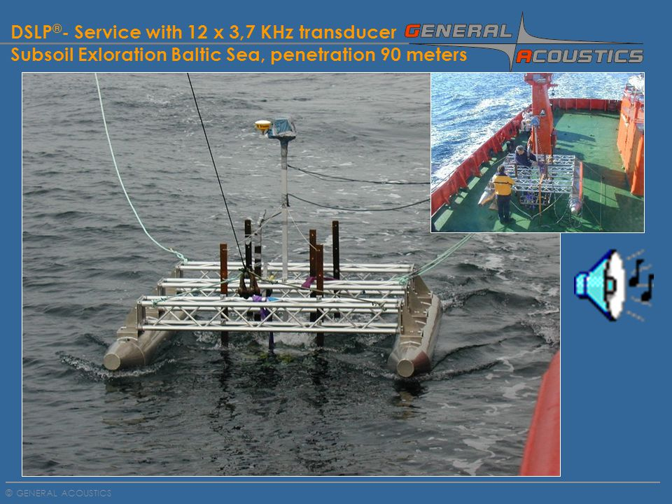 GENERAL ACOUSTICS © DSLP ® - Service with 12 x 3,7 KHz transducer Subsoil Exloration Baltic Sea, penetration 90 meters
