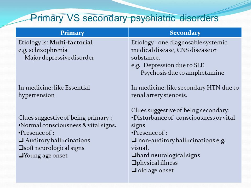 Primary VS secondary psychiatric disorders SecondaryPrimary Etiology : one diagnosable systemic medical disease, CNS disease or substance.