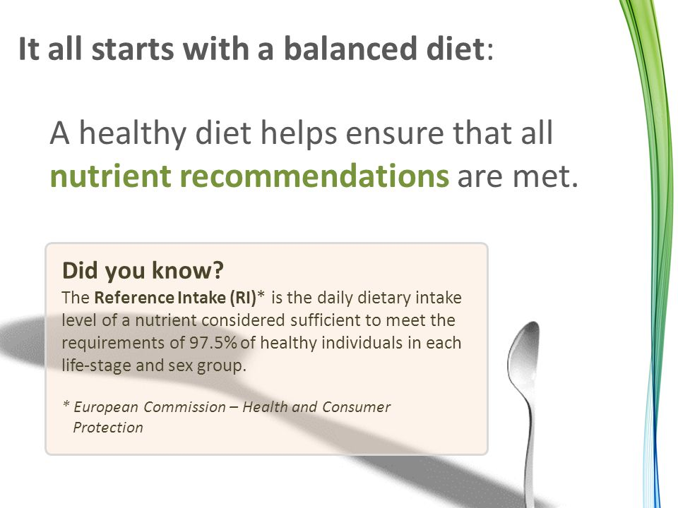It all starts with a balanced diet: A healthy diet helps ensure that all nutrient recommendations are met.