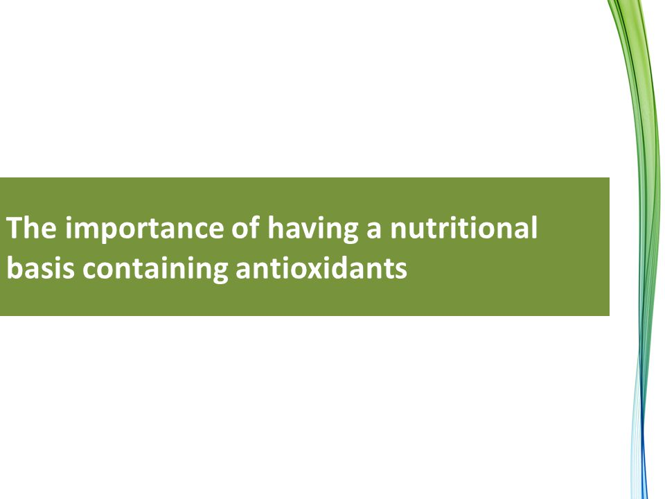 The importance of having a nutritional basis containing antioxidants