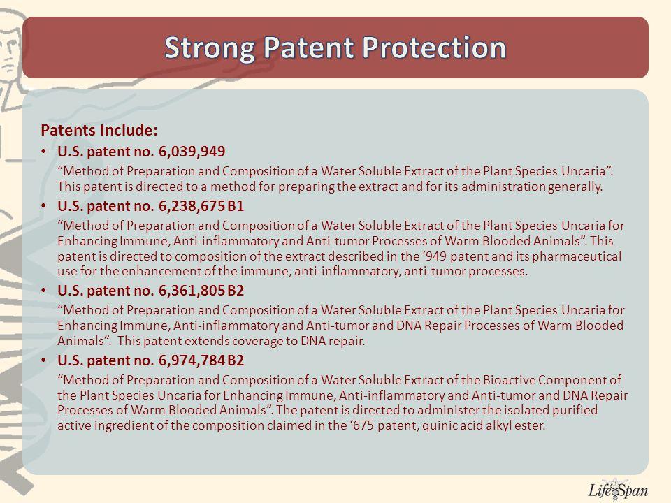 Patents Include: U.S. patent no.