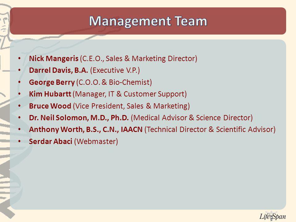 Nick Mangeris (C.E.O., Sales & Marketing Director) Darrel Davis, B.A.