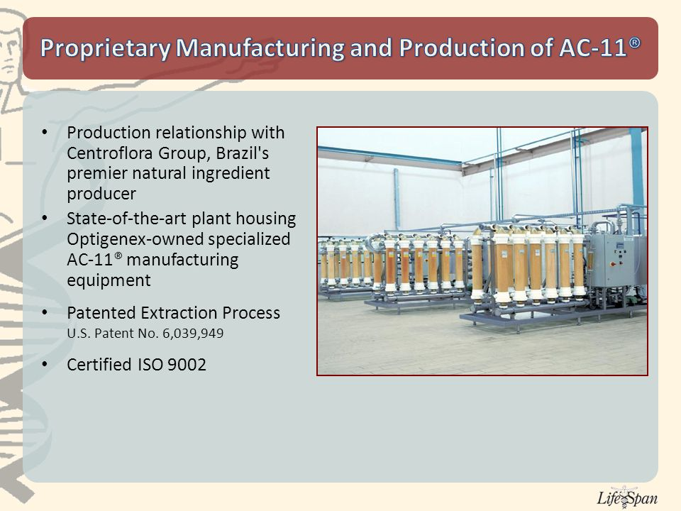 Production relationship with Centroflora Group, Brazil s premier natural ingredient producer State-of-the-art plant housing Optigenex-owned specialized AC-11® manufacturing equipment Patented Extraction Process U.S.