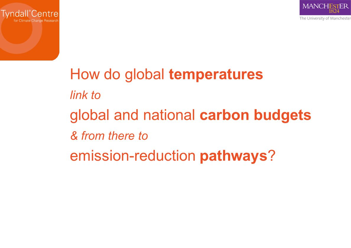 How do global temperatures link to global and national carbon budgets & from there to emission-reduction pathways