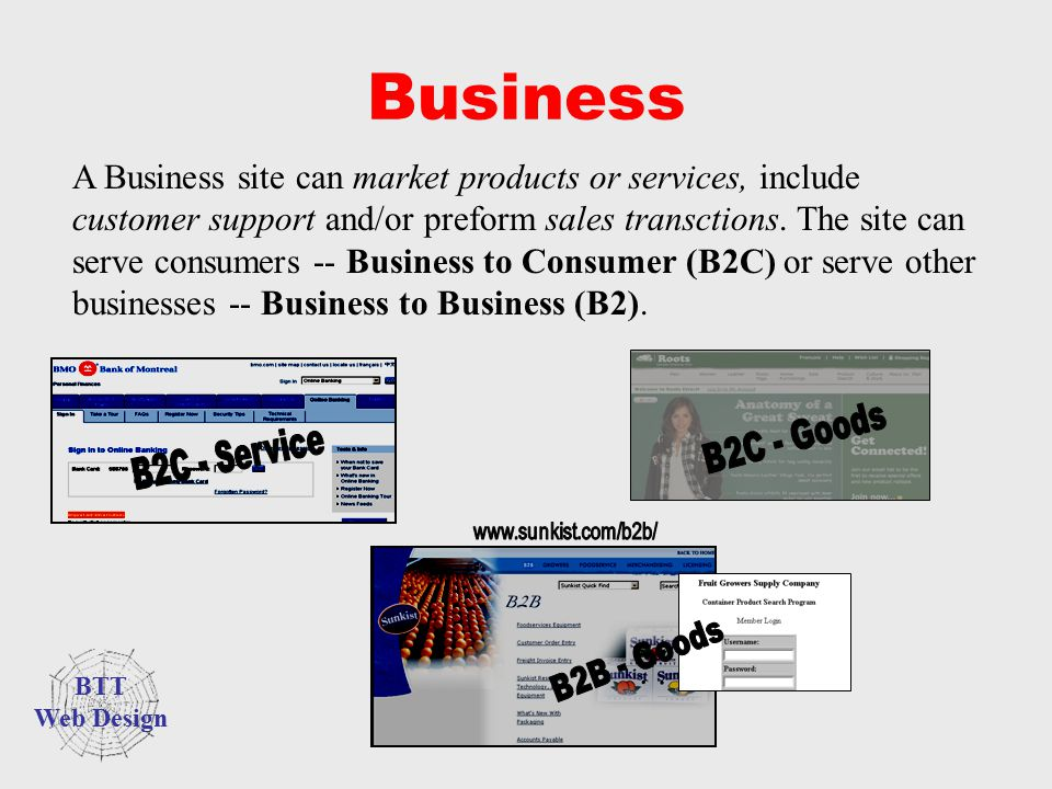 Business A Business site can market products or services, include customer support and/or preform sales transctions. The site can serve consumers -- B