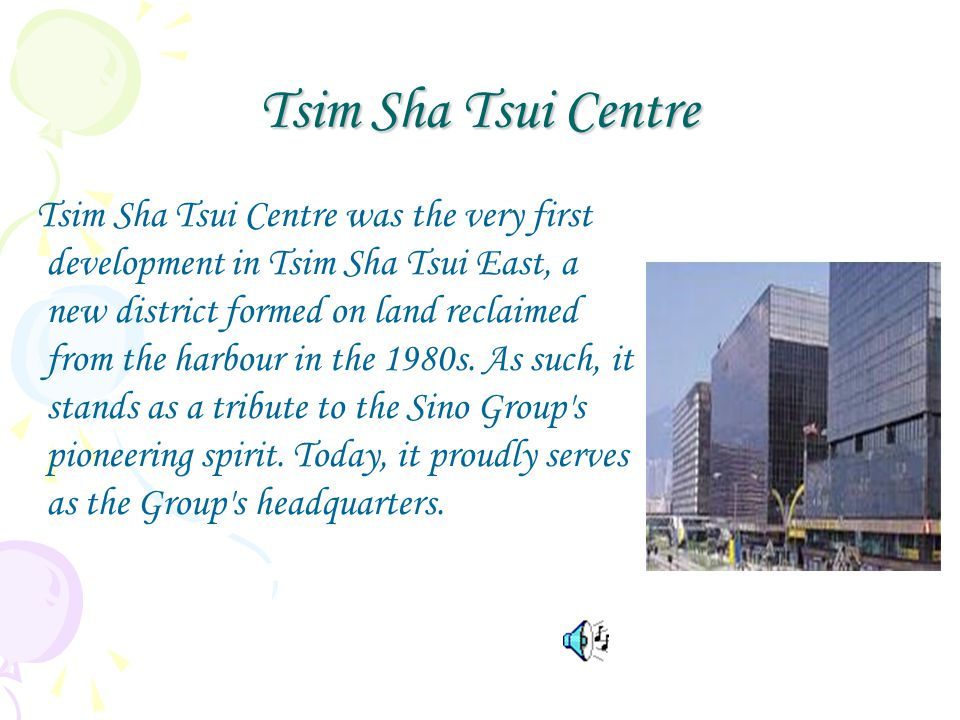 Tsim Sha Tsui Centre Tsim Sha Tsui Centre was the very first development in Tsim Sha Tsui East, a new district formed on land reclaimed from the harbour in the 1980s.