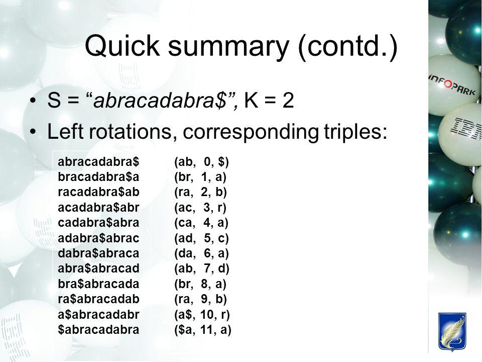 Quick summary (contd.) S = abracadabra$ , K = 2 Left rotations, corresponding triples: abracadabra$ bracadabra$a racadabra$ab acadabra$abr cadabra$abra adabra$abrac dabra$abraca abra$abracad bra$abracada ra$abracadab a$abracadabr $abracadabra (ab, 0, $) (br, 1, a) (ra, 2, b) (ac, 3, r) (ca, 4, a) (ad, 5, c) (da, 6, a) (ab, 7, d) (br, 8, a) (ra, 9, b) (a$, 10, r) ($a, 11, a)