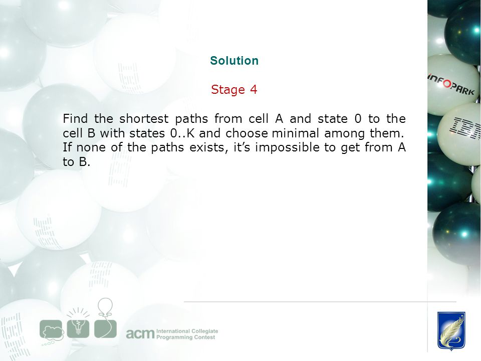 Solution Stage 4 Find the shortest paths from cell A and state 0 to the cell B with states 0..K and choose minimal among them. If none of the paths ex