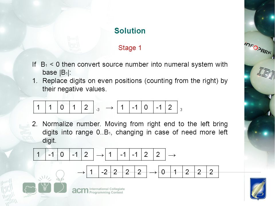 Solution Stage 1 If B 1 < 0 then convert source number into numeral system with base |B 1 |: 1.Replace digits on even positions (counting from the right) by their negative values.