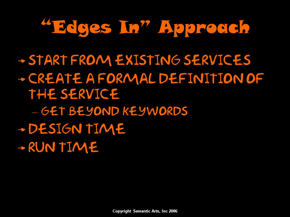 "Copyright Semantic Arts, Inc 2006 ""Edges In"" Approach Start from existing services Create a formal definition of the service – Get beyond keywords Des"
