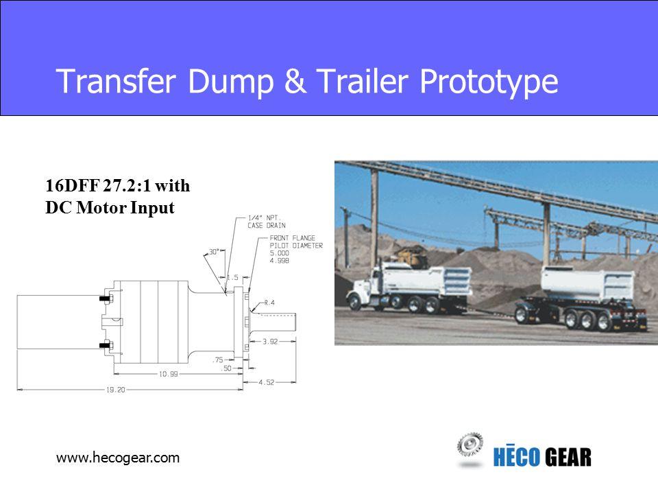 www.hecogear.com Transfer Dump & Trailer Prototype 16DFF 27.2:1 with DC Motor Input