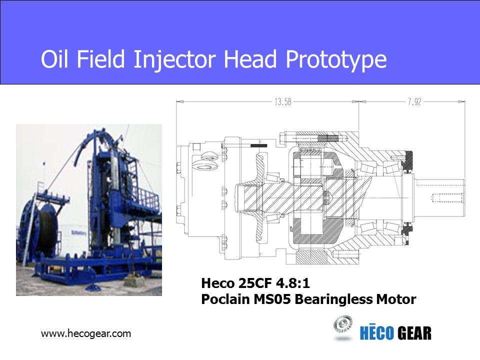 www.hecogear.com Oil Field Injector Head Prototype Heco 25CF 4.8:1 Poclain MS05 Bearingless Motor