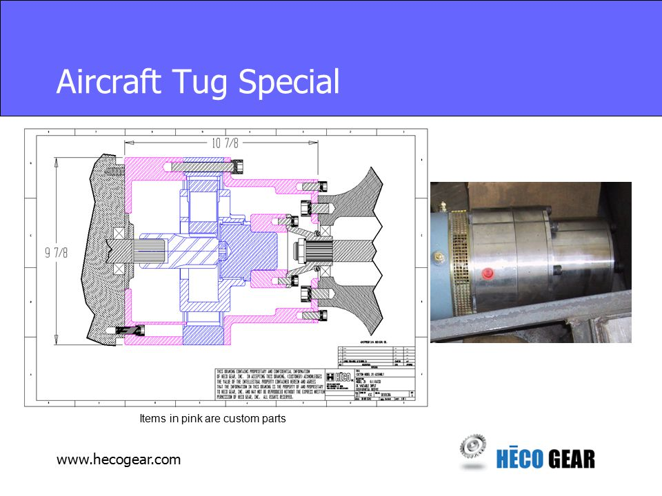 www.hecogear.com Aircraft Tug Special Items in pink are custom parts