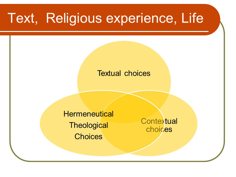 Text, Religious experience, Life Textual choices Contextual choices Hermeneutical Theological Choices