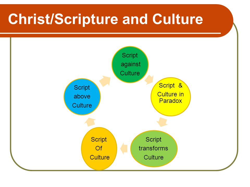 Christ/Scripture and Culture Script against Culture Script & Culture in Paradox Script transforms Culture Script Of Culture Script above Culture