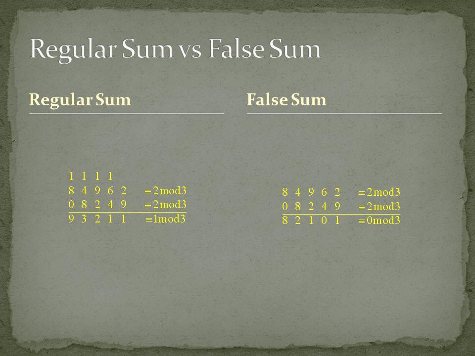 Regular Sum False Sum