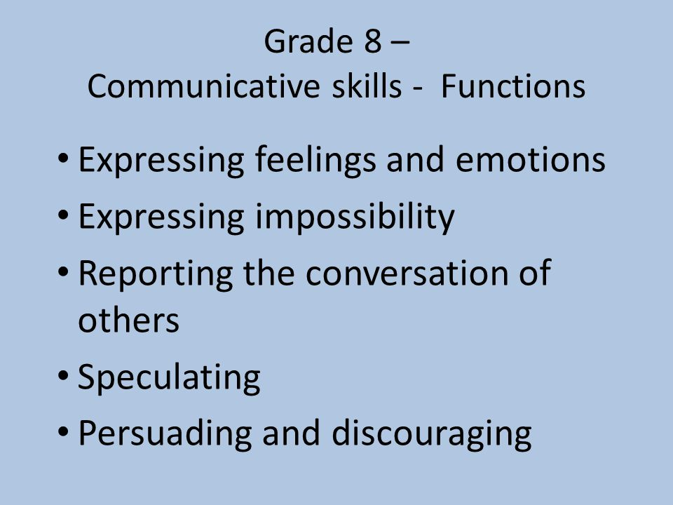 Grade 8 – Subject Areas for Conversation Phase Society and living standards Personal values and ideals The world of work Unexplained phenomena and events National environmental concerns Public figures past and present