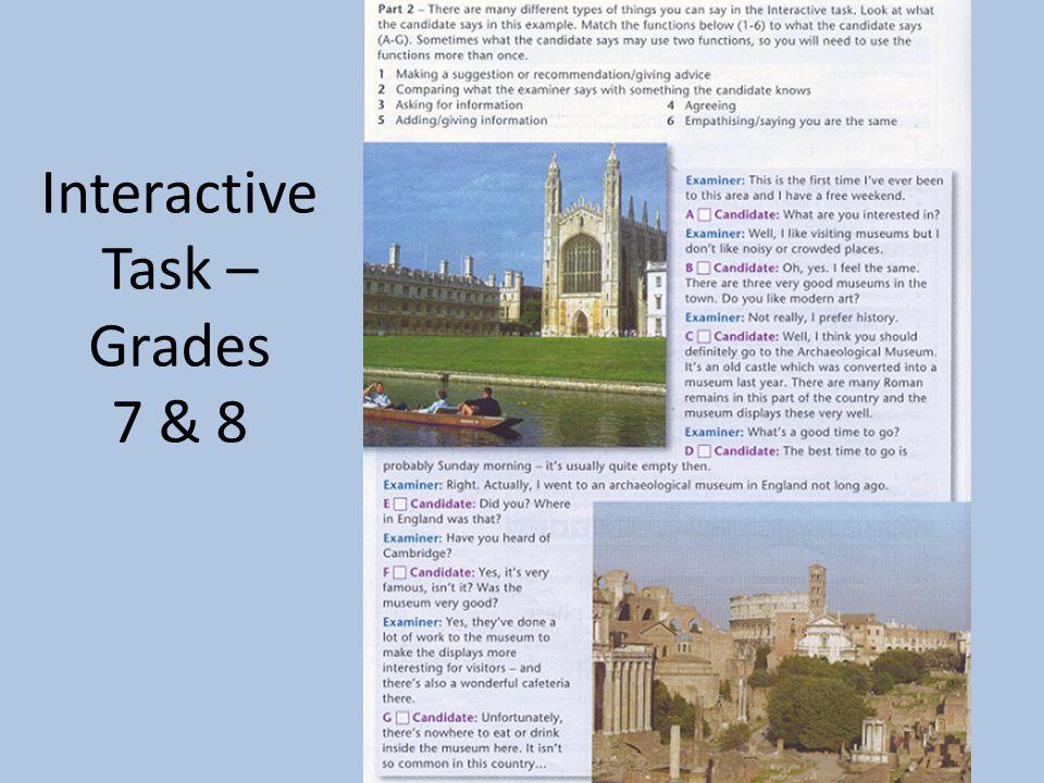 Interactive Task – Grades 7 & 8
