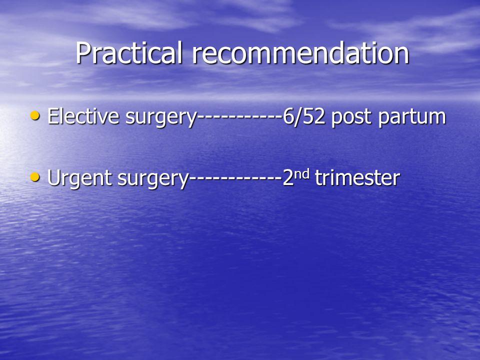 Practical recommendation Practical recommendation Elective surgery-----------6/52 post partum Elective surgery-----------6/52 post partum Urgent surgery------------2 nd trimester Urgent surgery------------2 nd trimester