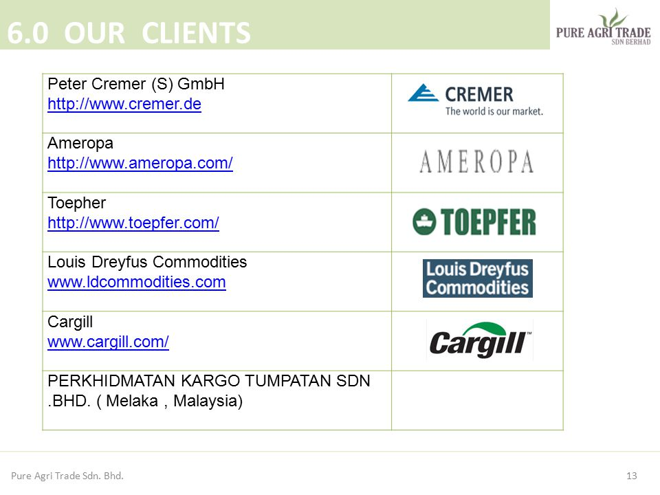 13 6.0 OUR CLIENTS Pure Agri Trade Sdn. Bhd. Peter Cremer (S) GmbH http://www.cremer.de Ameropa http://www.ameropa.com/ Toepher http://www.toepfer.com