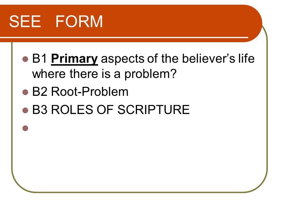 SEE FORM B1 Primary aspects of the believer's life where there is a problem.
