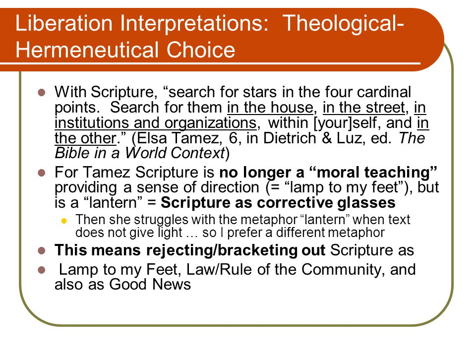 Liberation Interpretations: Theological- Hermeneutical Choice With Scripture, search for stars in the four cardinal points.