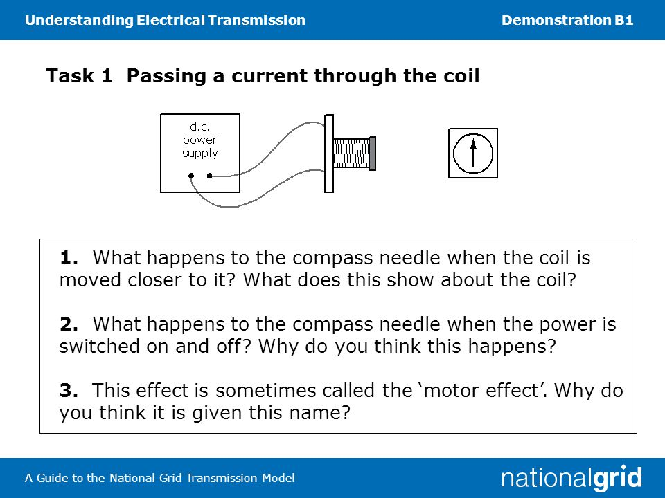 Understanding Electrical TransmissionDemonstration B1 A Guide to the National Grid Transmission Model Task 1 Passing a current through the coil 1.