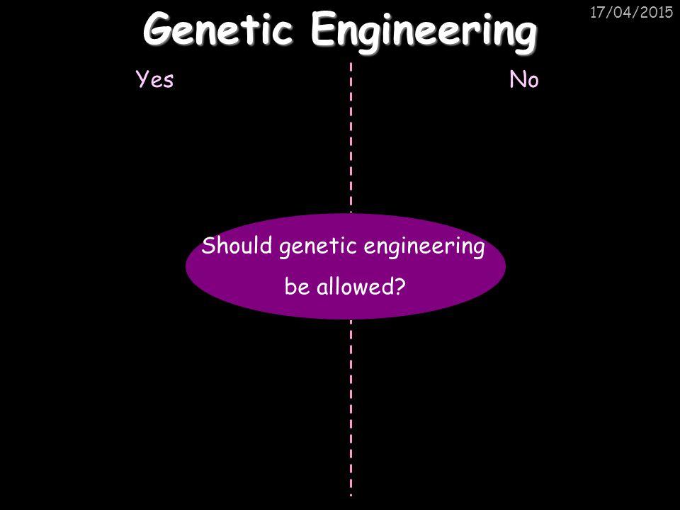 17/04/2015 Genetic Engineering YesNo Should genetic engineering be allowed?
