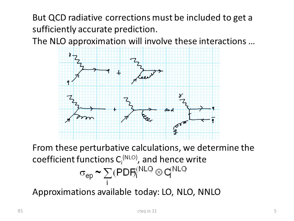cteq ss 115 But QCD radiative corrections must be included to get a sufficiently accurate prediction. The NLO approximation will involve these interac
