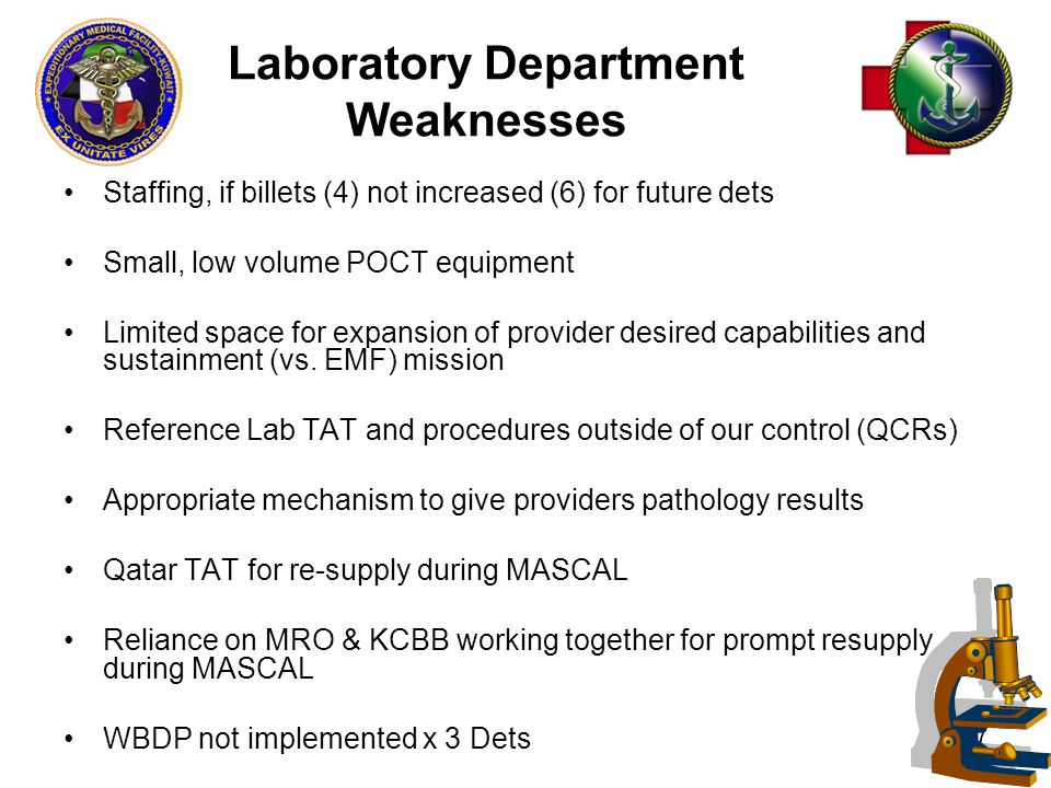 47 Laboratory Department Weaknesses Staffing, if billets (4) not increased (6) for future dets Small, low volume POCT equipment Limited space for expansion of provider desired capabilities and sustainment (vs.