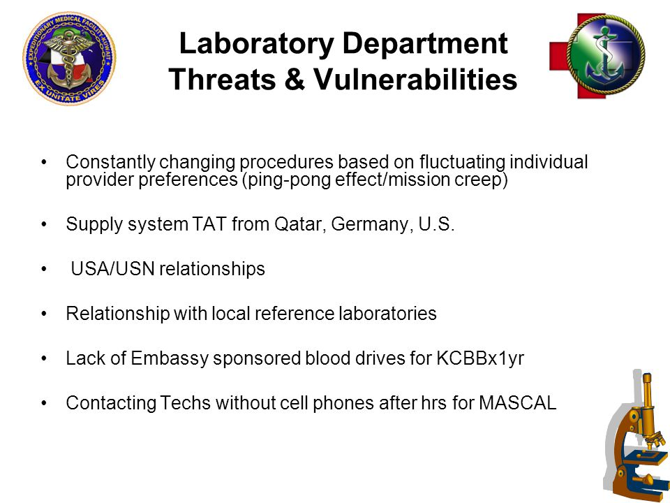 49 Laboratory Department Threats & Vulnerabilities Constantly changing procedures based on fluctuating individual provider preferences (ping-pong effect/mission creep) Supply system TAT from Qatar, Germany, U.S.