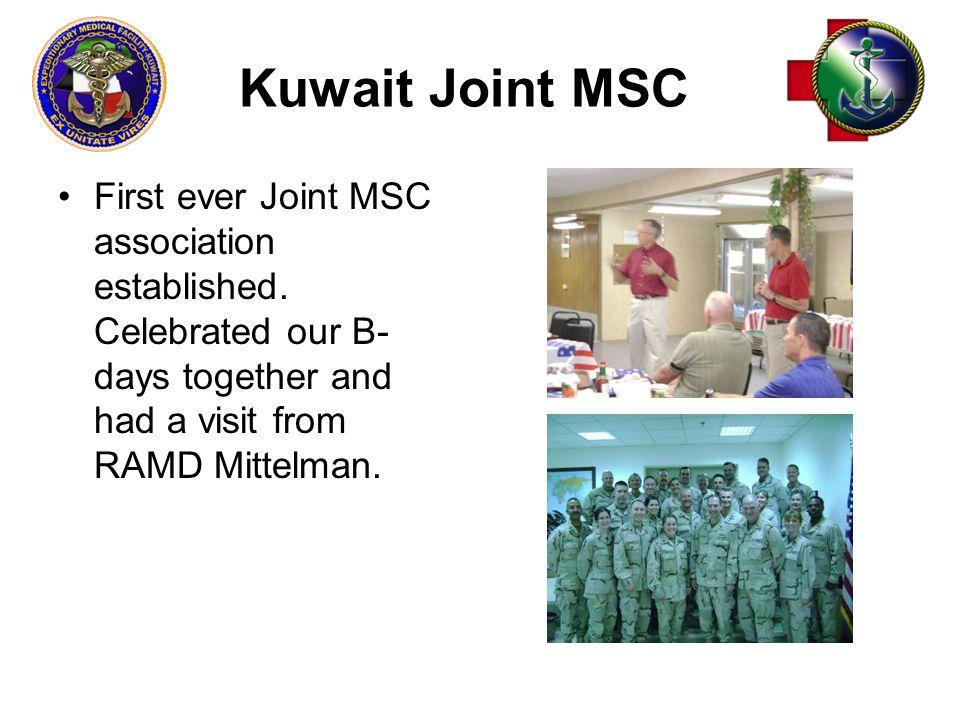 Kuwait Joint MSC First ever Joint MSC association established.