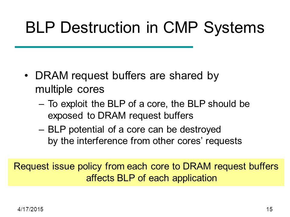 4/17/201515 BLP Destruction in CMP Systems DRAM request buffers are shared by multiple cores –To exploit the BLP of a core, the BLP should be exposed