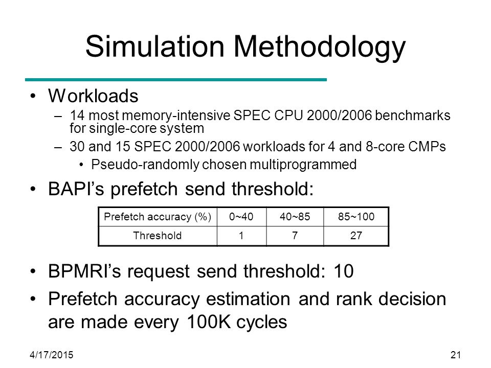 4/17/201521 Simulation Methodology Workloads –14 most memory-intensive SPEC CPU 2000/2006 benchmarks for single-core system –30 and 15 SPEC 2000/2006