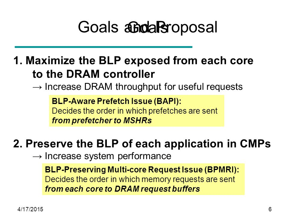 4/17/20156 Goals 1. Maximize the BLP exposed from each core to the DRAM controller → Increase DRAM throughput for useful requests 2. Preserve the BLP