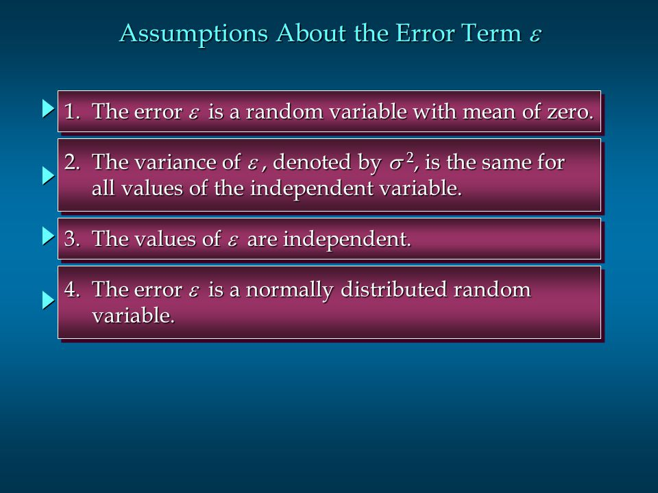 Assumptions About the Error Term  1. The error  is a random variable with mean of zero. 2. The variance of , denoted by  2, is the same for all v