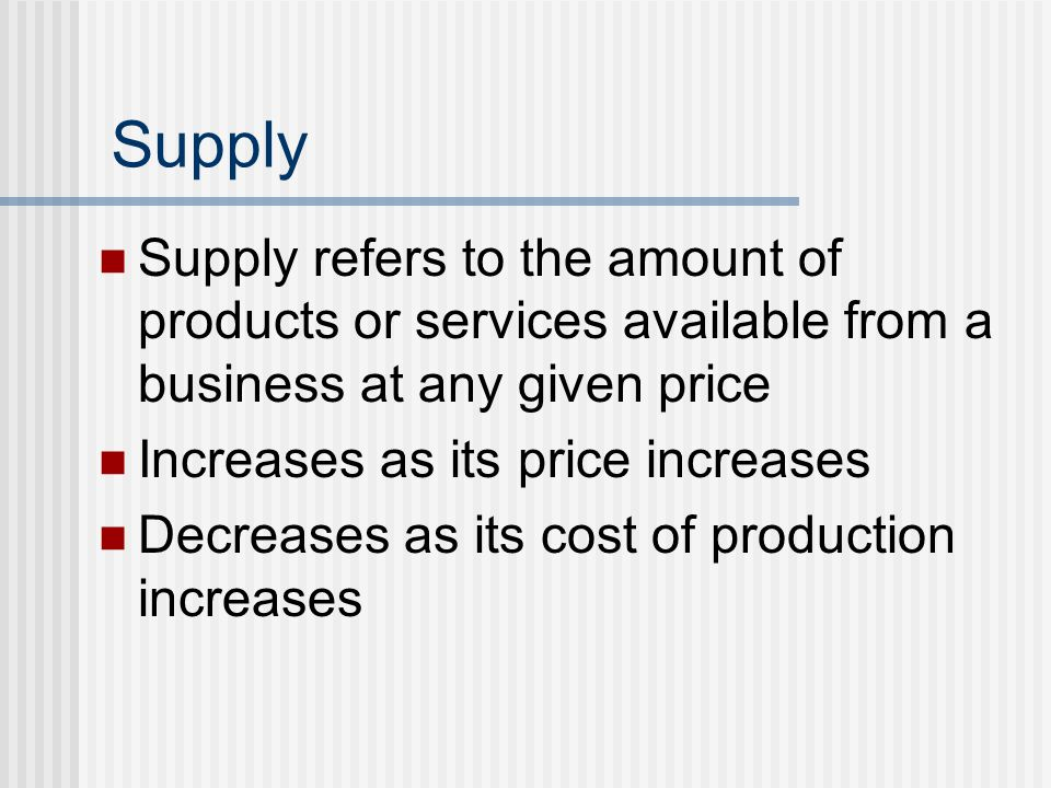 Supply Supply refers to the amount of products or services available from a business at any given price Increases as its price increases Decreases as its cost of production increases